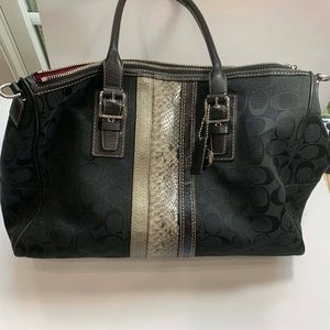 "Coach Stanton Black Carryall 26"" Snake Signature"